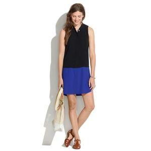Madewell Blue Black Sleeveless Tunic Shirt Dress L